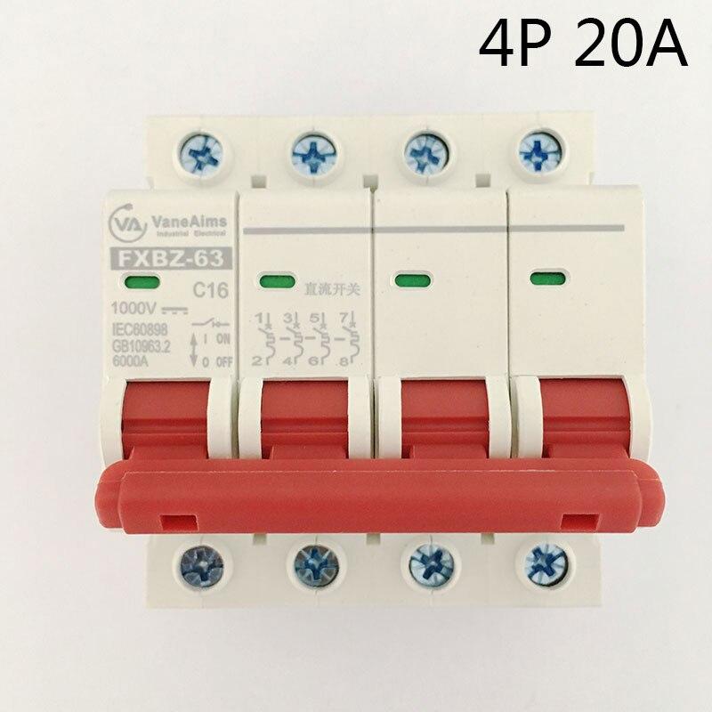 4P 20A DC 1000V Solor Circuit breaker MCB 4 Poles C63 FXBZ-63 new 30653 circuit breaker compact ns160n tmd 80 a 4 poles 4d