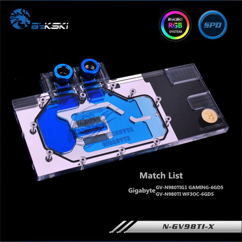 Bykski Full Coverage GPU Water Block For Gigabyte GTX980TI GV-N98TG1 Graphics Card N-GV98TI-X n gv98ti x gtx980ti gv n98tg1 full coverage water cooling head water jacket