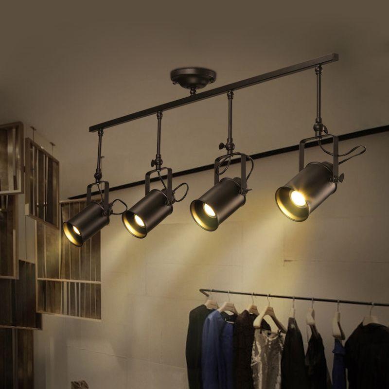 Nordic Retro Loft Track Light RH American Industrial LED Black Ceiling Vintage Spot <font><b>Pendant</b></font> Light Lamp Lustres Bedroom