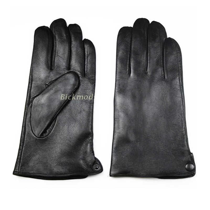 40c8b4efd84df ... Leather Gloves Male Sheepskin Straight Button Style Thin Velvet Lining  Warm Fall Winter Men's leather split ...