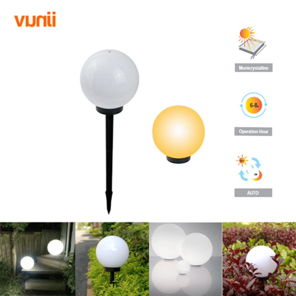 Vunji IP65 LED ηλιακό φως μπάλα κήπου ηλιακή Powered Lawn λάμπα με αισθητήρα φωτός για το μονοπάτι κήπο εξωτερική διακόσμηση