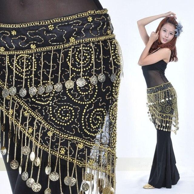 High grade Belly dance costume clothes indian dance belt waist chain hip scarf women girl dance with 158 coins B 004
