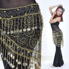 Yüksek dereceli Göbek dans kostümü giysileri hint dans kemer bel zinciri cıngıllı şal kadın kız dans 158 sikke ile B 004