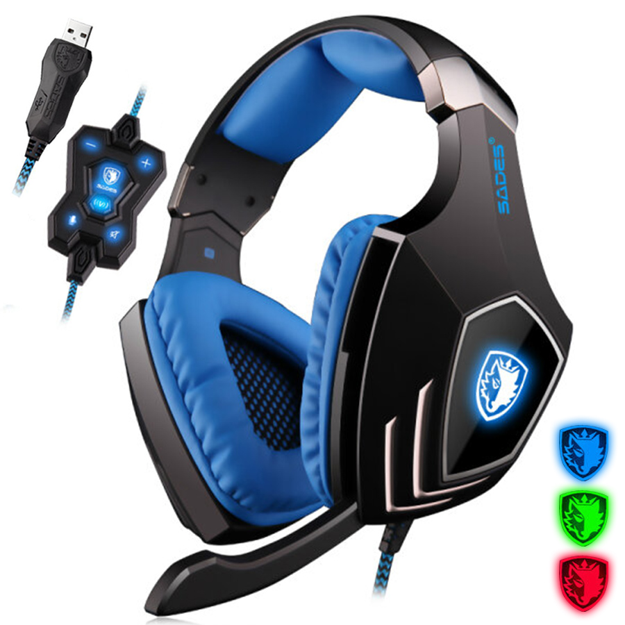 SADES A60 7.1 Surround Sound USB Game Headset Over Ear with Microphone Vibration Volume Control LED Light Headphone for PC Gamer game over