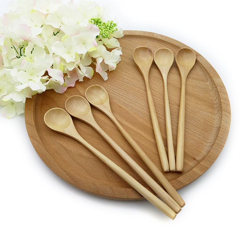 3 6pcs Long Handled Coffee Spoon Wooden Mixing Spoons Set ...