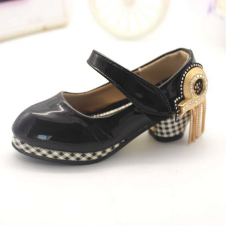 size 40 6cadf 87fa1 US $23.65 9% OFF|girls red shoes kids dance shoes faux leather party dance  kd 7 black girls shoe high heel European size 27~31 plaid fashion-in ...