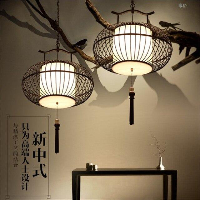 Nouveau style chinois forgé fer pendentif lumière antique lampe de ...