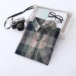 Новый бренд для женщин блузки для малышек рубашки с длинными рукавами хлопок зеленый и синий фланелевая рубашка в клетку повседневное