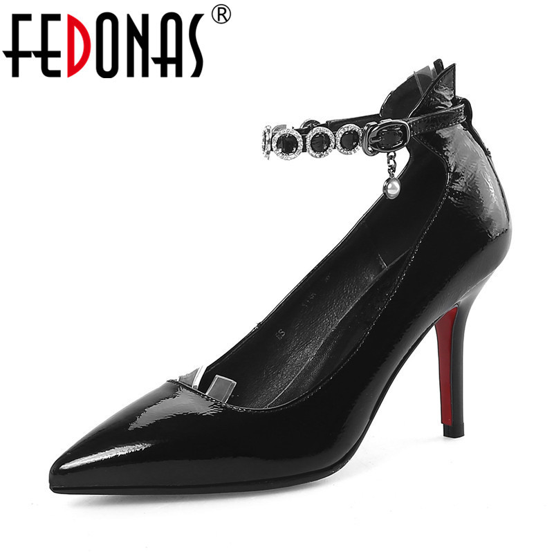 FEDONAS Brand Shoes Women Genuine Leather High Heels Pumps Stiletto Thin Heel Pointed Toe Rhinestone Wedding Party Shoes Woman pointed toe high heels for wedding party rhinestone covered bridal dress shoes stiletto heel banquet pumps white pink red color