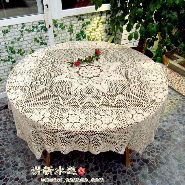 Envío libre del ganchillo del algodón de color beige mesa para mesa ...