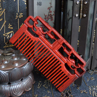 1 PC Handmade Red Wood Comb Make Hair Straightener Natural Head Massage Hair Care 11cm 5