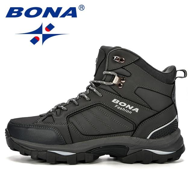 BONA Men Boots Anti-Skidding Leather Shoes Men Popular Comfy Spring Autumn Men Shoes Short Plush Snow Boots Durable Outsole 5