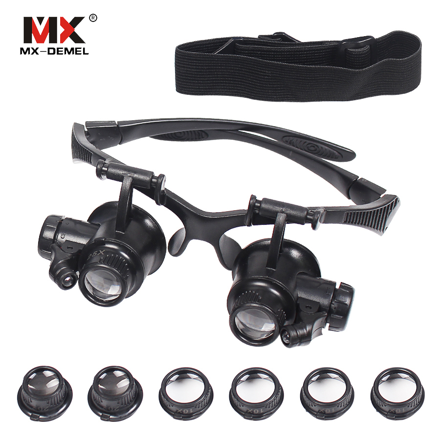MX-DEMEL Headband 10X 15X 20X 25X LED Light Glasses Magnifier Watchmaker Jewelry Optical Lens Glass Magnifier Loupe Instrument