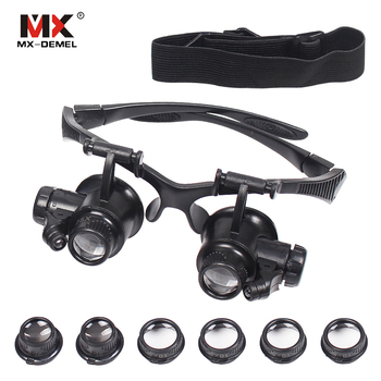 90a11a53ee MX-DEMEL diadema 10X 15X 20X 25X luz LED gafas lupa relojero joyería de  lente óptica de vidrio lupa de la lupa instrumento