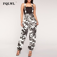 FQLWL Camouflage Suspenders Overalls Women Lace Up Backless Womens Rompers Jumpsuit Autumn Casual Ladies Jumpsuits Loose Pants