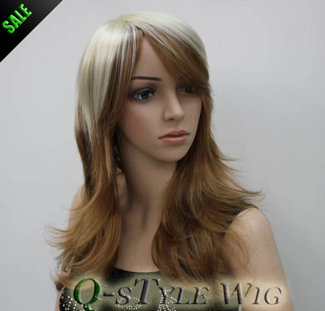 Wholesale Wig Medium Length Highlight Color Ombre Blonde To Brown