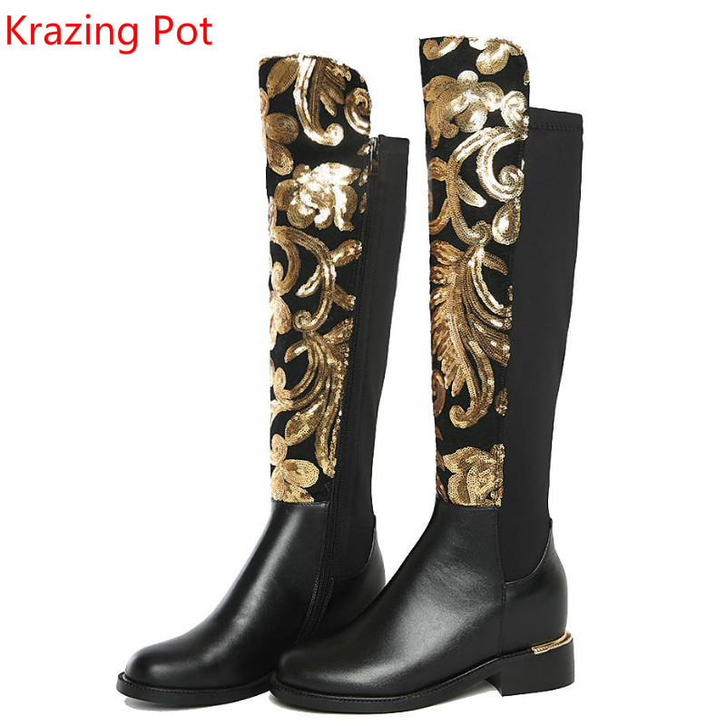 2019 Brand Winter Shoes Large Size Thick Heel Glitter Women Knee-High Boots Causal Warm Low Heel Real Leather Fashion Boots L8f4