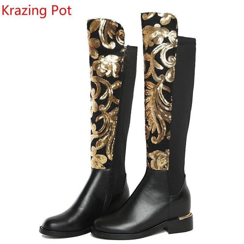 2019 브랜드 겨울 신발 대형 두꺼운 뒤꿈치 반짝이 여성 무릎 높은 부츠 인과 따뜻한 낮은 뒤꿈치 진짜 가죽 패션 부츠 l8f4-에서무릎 - 하이 부츠부터 신발 의  그룹 1
