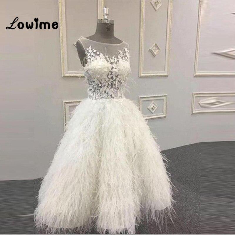 6ba3982bf9d5 Feather Evening Dresses Robe De Soiree Tea Length Lace Applique Party Dress  2019 Custom Made Illusion