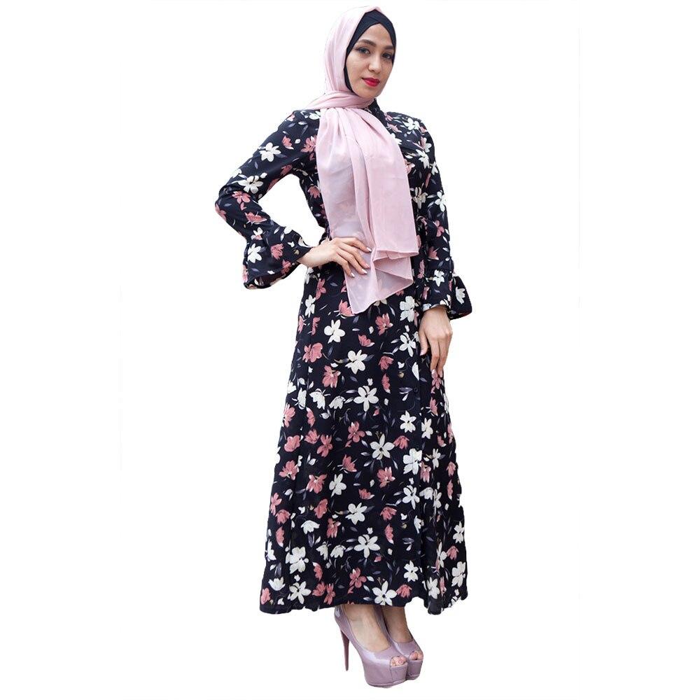 2018 Baju Muslim Wanita Abaya Islam Kaftan Arab Dubai Maroko Kaftan Gamis  Musulmane Cetak Sashes Panjang Gaun Putih Hitam di Pakaian Islamic dari  Novelty ... 562b61815f
