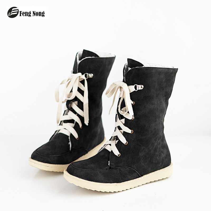 Fengnong Fashion booties Women Botas Female Womens Mid-calf Fashion Boots Snow Warm Boots Lady's Shoes Big Size 34-43 WBT51