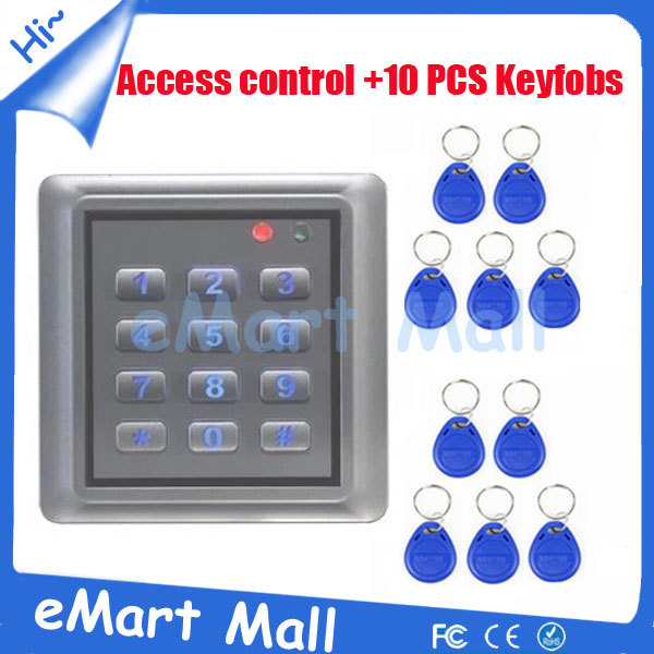 Free Shipping  Metal Waterproof Access Controller System with Keypad, Support Password EM Card Reader with 10 piece keyfob free shipping waterproof digital access keypad light support 2 main cards add card and delete card