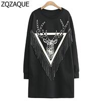 Fashion Rivets Deer Pattern Hoodies European And American New Women S Long Style Pullover Tassel Sweatshirts