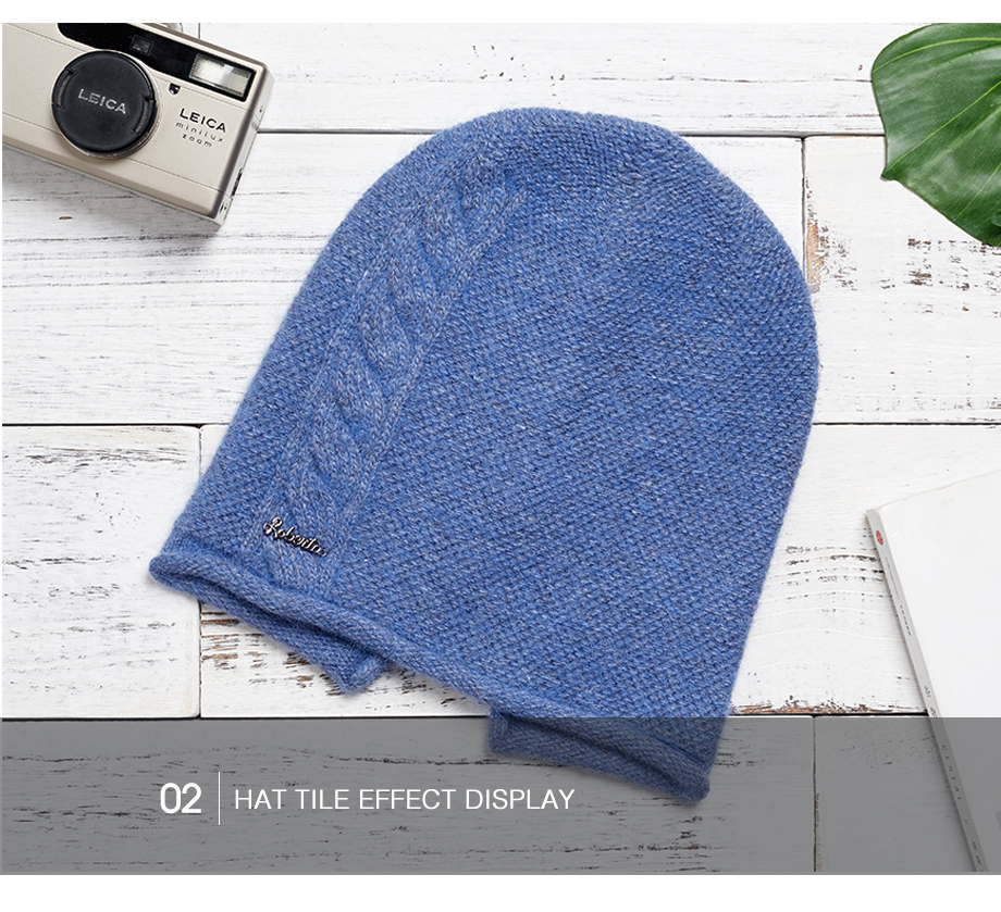 2018 New Women Baggy Bonnet Beanies Female Rabbit Hair Wool Knitted Winter Hats Soft Skiing Slouchy Beanie With Back Opening (19)