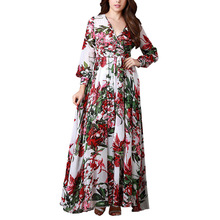 Women's Floral Print Pleated Chiffon Maxi Long Dress with Sashes Deep V-Neck 2018 Spring Vintage Plus Size Dresses