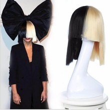 sia this is acting sia wig bow short bobo wigs cosplay black blonde wig straight cheap heat resistant synthetic wigs ombre hair
