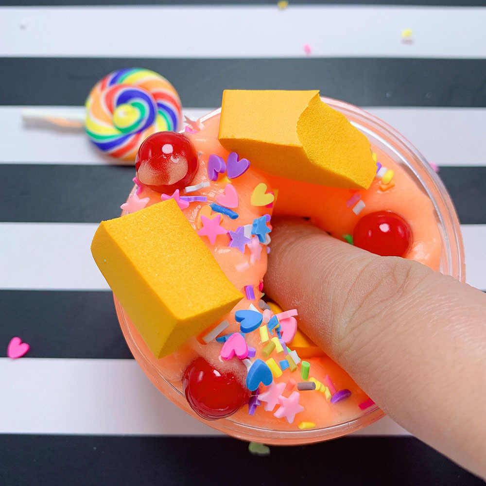 100 ミリリットルケーキミルクロリポップカラー泥スライムふわふわ香りストレス粘土汚泥スライムのおもちゃ泡ビーズスライム用品粘液装飾品