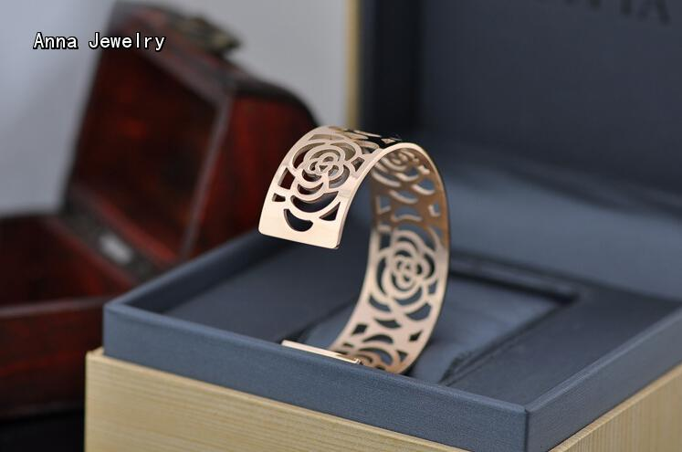 The Most Celebrated Rose Flower Cuff Bangle,Hollow Rose Flower Design Metal Bangle,Perfect for Women Wtist,All Views Will On You Islamabad