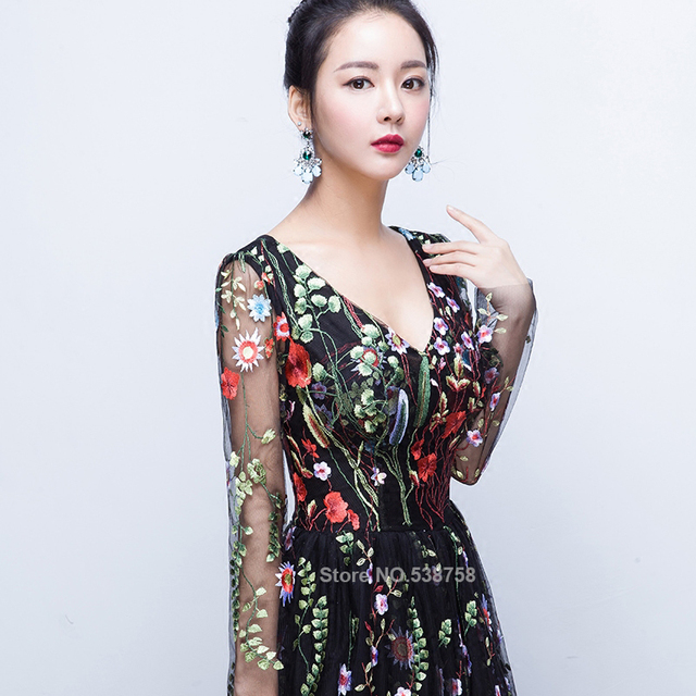New Design embroidery Evening Dresses long high quality Charming A-line Lace full Sleeves Prom Party Gown robe de soiree