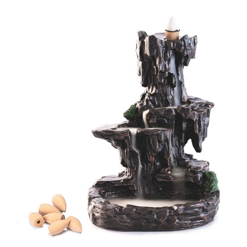 Mountain Shape Smoke Waterfall Backflow Incense Burner Censer Holder Decor Aromatherapy Furnace Aromatic Home Office Craft New in Incense Incense Burners from Home Garden