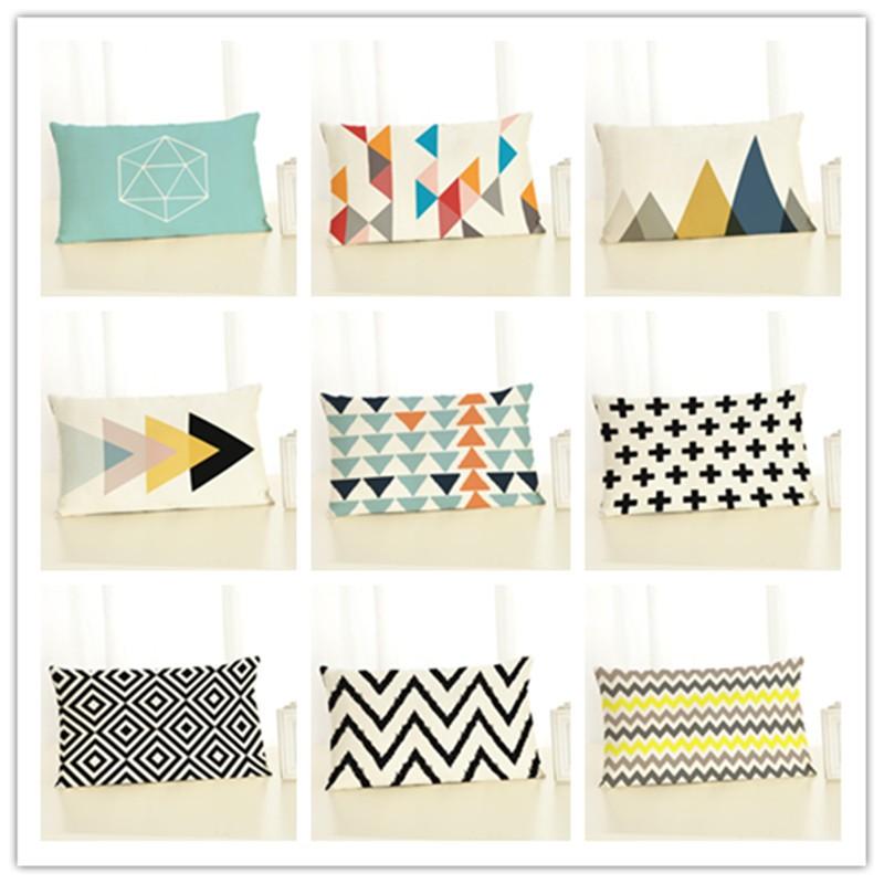30x50 High Quality Creative Fashion Style Geometry Print Home Decor Cushion Cover Cotton Linen Chair Cojines