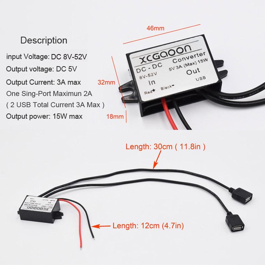 XCGaoon Dual 2 USB DC-DC Auto Converter Module Kabelingang DC 12V 24V - Auto-elektronica - Foto 2