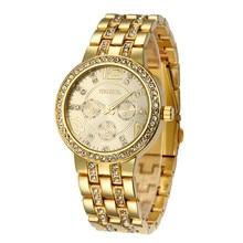2017 Luxury Geneva Brand Fashion Dress Quartz Wrist Watch Relogios Feminino Crystal Watch Rose Gold Stainless Steel Clock