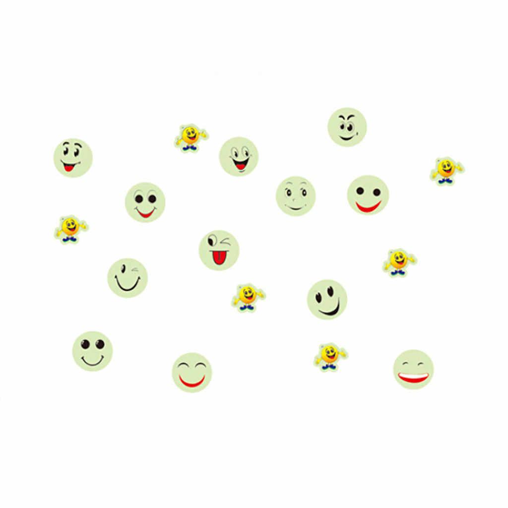 الفسفورية يبتسم الوجه الوهج في الظلام مضيئة ملصقات الفلورسنت التلفزيون جدار ملصقا قضية Noctilucent مبتسم طفل نوم المشارك