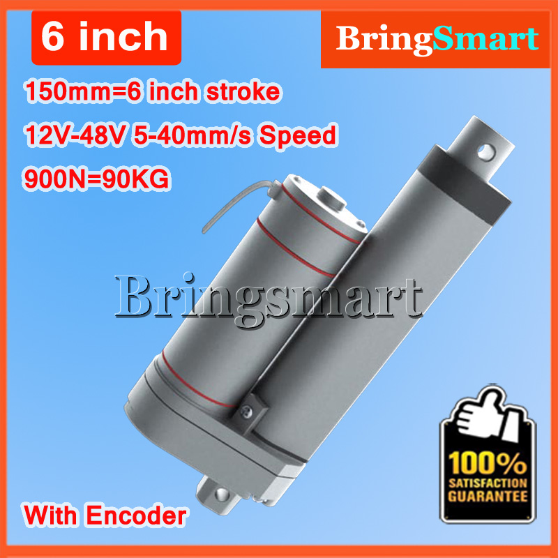 L-TGA-Y 12V DC 150mm Stroke 6 Inch Hall Electric Linear Actuator With Encoder 6'' Stroke 900N 90KG Load 12-48V Tubular DC Motor wholesale 12v linear actuator 150mm 6 inch stroke 7000n 700kg load waterproof 36v tubular motor 48v mini electric actuator 24v