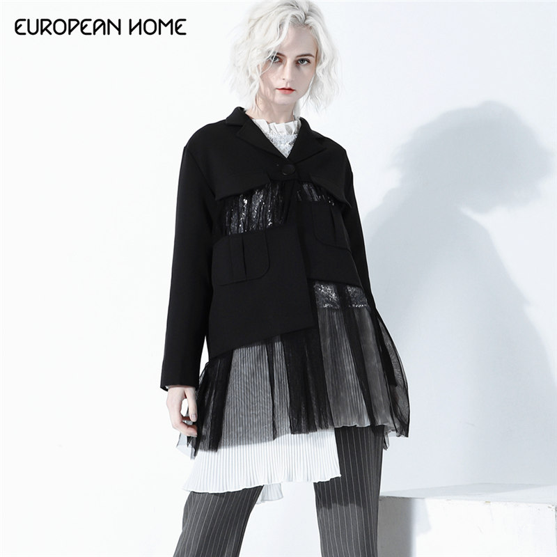 2019 printemps veste vêtements décontractés Patchwork maille manteau femelle simple bouton à manches longues Perspective automne grande taille manteaux femmes