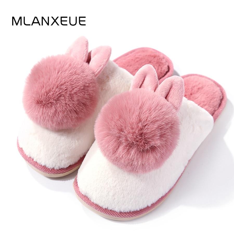 MLANXEUE Kawaii Carrtoon Rabbit Women Cotton Slippers Shoes Woman Hairball Plush Home Slippers Animal Prints Slippers Shoes 2018 цена 2017