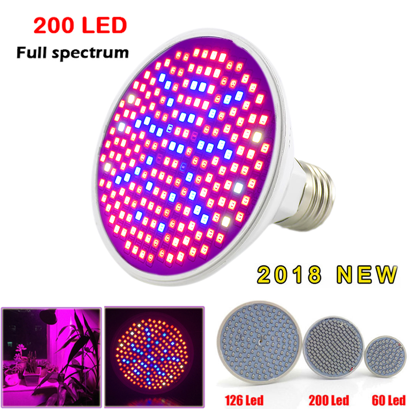 Full Spectrum E27 Plant Grow Lights 200 Led Growing Bulbs Lamp For Indoor Seeding Garden Flower Vegetable Hydroponics Greenhouse