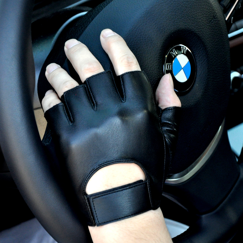 New Fashion Wrist Half Finger Genuine Leather Gloves Unisex Adult Fingerless Mittens Sports Cycling Motorcycle Lambskin Gloves