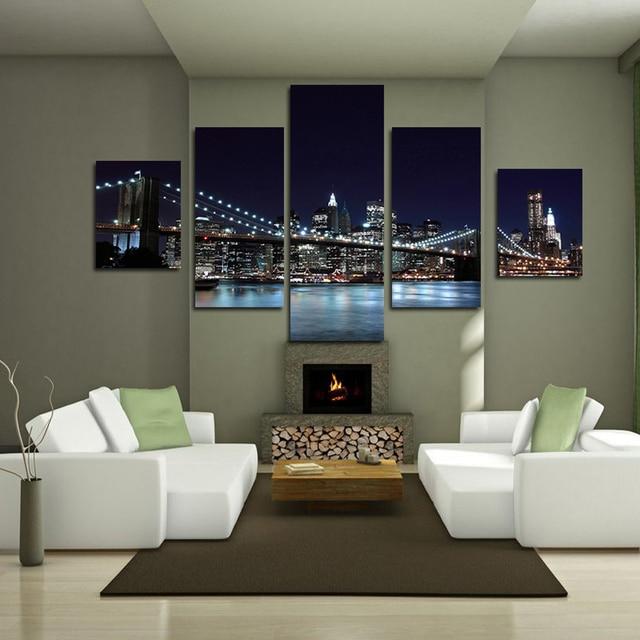 c8f3496c825fc رواية S L حجم 5 لوحات جسر منظر النفط اللوحة صور فنية للجدران ديكور المنزل
