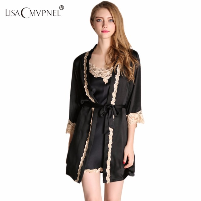 Lisacmvpnel Embroidery Sexy Lace Women Robe Set With Belt Robe V-Neck Spaghetti Strap Nightdress Female High Quality Bathrobe