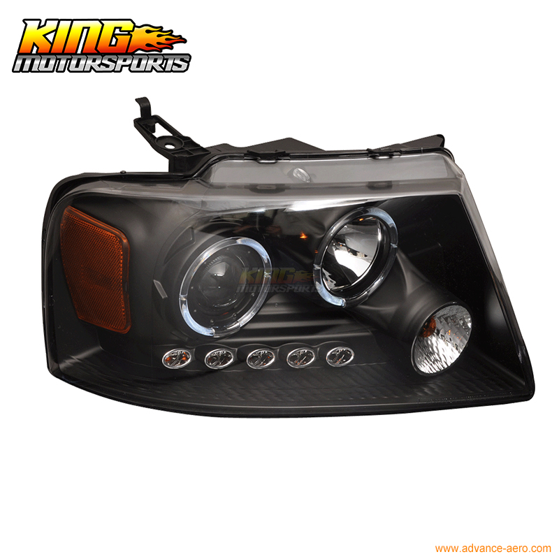 For 04-08 Ford F150 1Pc Halo LED Projector Headlights Black 05 06 07 USA Domestic Free Shipping