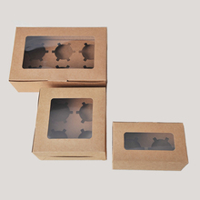 10PCS / Kraft paper cupcake boxes Transparent window gifts packing boxs Kitchen accessories Wedding party decoration supplies