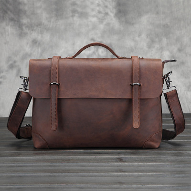 Vintage Crazy Horse Leather Men Bags Genuine Leather Business Handbag Laptop Briefcase Causal Shoulder Bags Messenger Bags LS062 vintage genuine leather men shoulder bag briefcase bags crazy horse oil wax leather brand business handbag available for a4