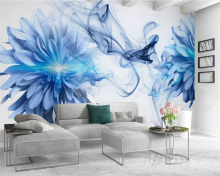 beibehang Modern personality interior wallpaper simple abstract smoke blue flowers bedroom background wallpapers for living room blue smoke