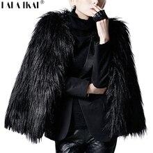 Меха мех искусственного короткий верхняя леди куртка длинным пальто зима рукавом